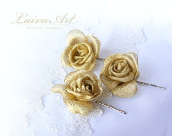 Wedding Fabric Flower Hair Pin Bridal Accessories Gold Ivory
