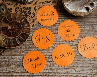 25 Pumpkin Orange Save the Date, Printed Envelope seals, wedding stickers invitation. Scalloped Round Favour sticker. Matt Pearlised shimmer