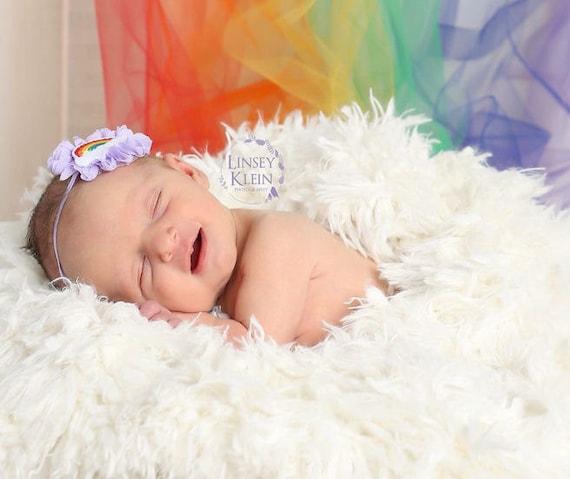 Rainbow Chiffon Baby Headband