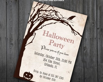 Halloween Crow Invitation