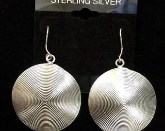 Silver Spiral Disk Earrings