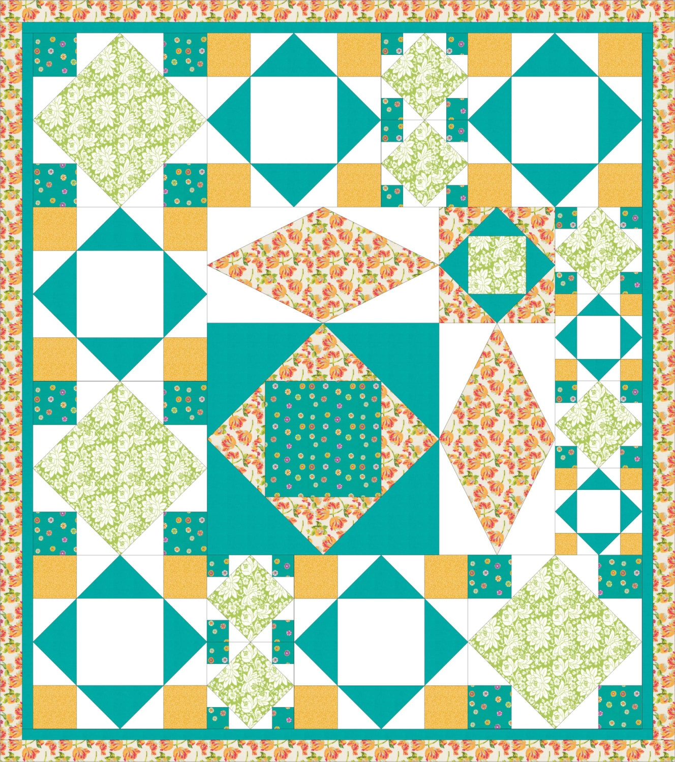 Modern Quilt Patterns Free Download : Modern bold full bed quilt PDF pattern Flowers and