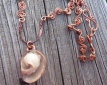 Druzy Shell Fossil Necklace with Handmade Copper Chain. Unique Natural Crystallized  Shell Pendant