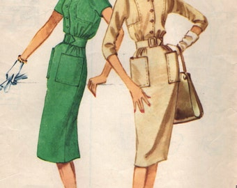 Vintage 1950s McCall's Sewing Pattern 5213- Misses' Dress size 14 bust 34""