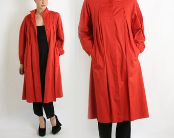 Vintage 70's 80's Red Lined Long A-Line Trench Coat XS-S