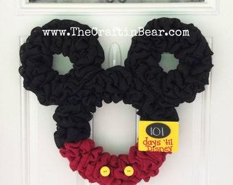 Mickey Mouse wreath - Burlap wreath - Countdown to Disney - Personalized Mickey - party decor - nursery decor - Minnie mouse wreath