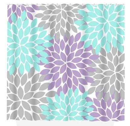 Aqua Gray SHOWER CURTAIN Lavender Flower Burst By TRMDesignShop