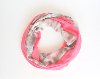Infinity Scarf, Bright Pink Scarf, Summer Scarf, Coral Infinity Scarf, Lightweight, Unique Handmade Scarf, Gift For Her, Ladies scarf