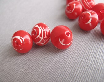 14pcs Vintage Red Retro Bicone Beads with White Swirls, Mid Century Red and White Beads - Recycle - B-01RP-12-D