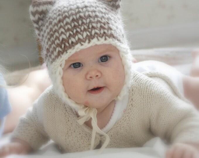KNITTING PATTERN cat striped earflap hat Kitty Kat (baby/ toddler/ child/ woman sizes)