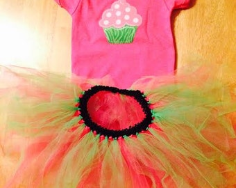 Cupcake Tutu and Onesie! in Pink and Green 12-18 mo