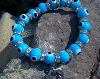 Evil Eye Bracelet, Evil Eye with Dolphin, Protection, Happiness, Santorini Collection, Santorini Eye, Eye of Protection, Evil Eye & Dolphin