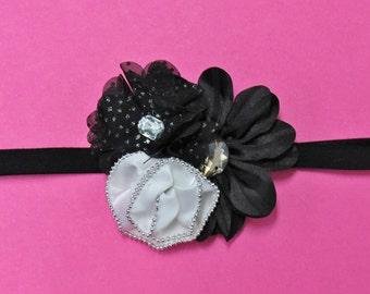Black and White Newborn Headband - White and Black Newborn Headband
