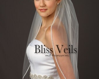 Wedding Veil Rhinestone, Waist Length Veil, Ivory Bridal Veil, Wedding Veil White,  Beaded Veil, Available in any length! Fast Shipping!