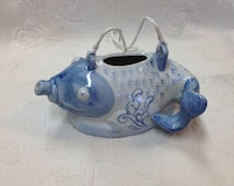 Hand Painted Blue Koi Fish Porcelain Tea Pot, Oriental Decorative Tea Pot, Asian Blue Koi Porcelain, Blue and White Porcelain