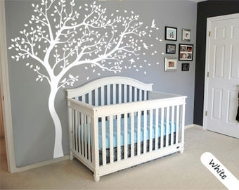 White Tree Wall Decal Large Tree Wall Decal Wall Mural Stickers Wall Decals  Decor Nursery Tree