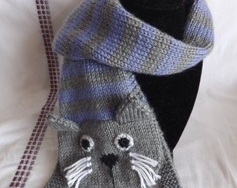 Knitting Pattern Cat Clothes : Knit cat scarf Etsy
