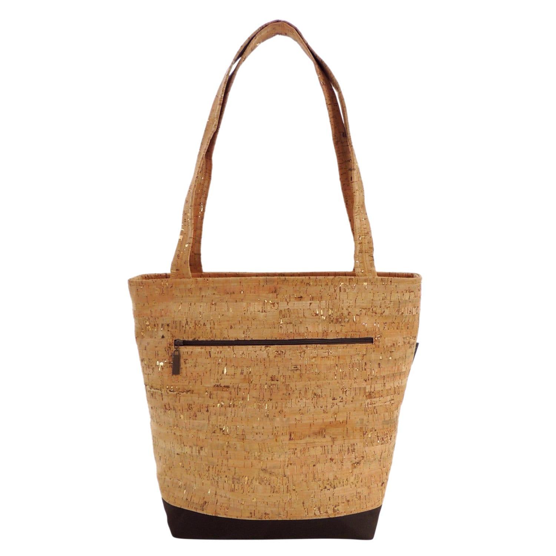 Cork Handbags: Vegan Cork Purse Brown And Tan Tote Bag With Gold By
