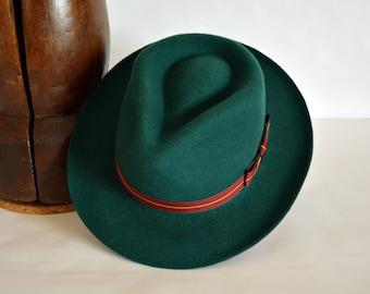 Forest Green Wool Felt Teardrop Fedora - Pure Merino Wool Felt Handmade Teardrop Fedora Hat - Men Women