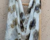 Silk Scarf golden green, olive green, gold, abstract flowers, ecoprint