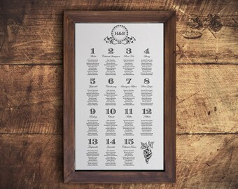 Printable Wedding Table Seating Chart Template in Winery Classic Black