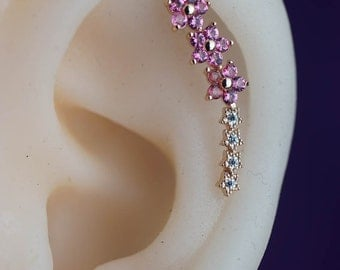cartilage earring - cartilage piercing - cartilage stud - gold cartilage earring - pink flower cute unique -helix earring, helix piercing