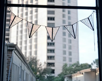 Clear Textured Stained Glass Garland Banner