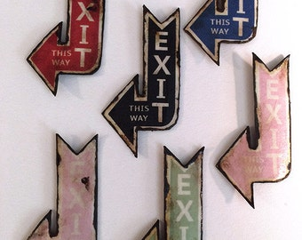 Miniature Dollhouse Vintage Inspired Exit Tin Signs - One of Each Color