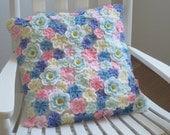 Floral crochet pillow, summer pillow, floral cushion, summer cushion (6)