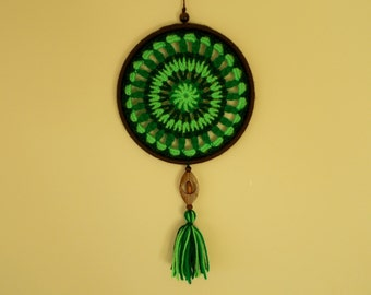 6 inches Crochet Doily Dreamcatcher - Green and Brown Dream Catcher - Wall Art Mandala  Suncatcher - Boho Hippie Home Decor - Wall Hanging