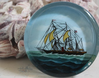 Nautical  Paperweight  - Home Office, Lake House, Seaside House  -  Glass Ship Paperweight