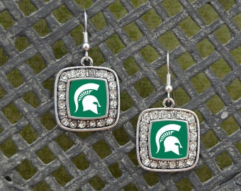 Michigan State Spartans Square Earrings