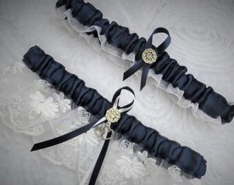 Something Blue Wedding Garter Set, Bridal Garter, Keepsake and Toss-away Garter Set, Wedding Garter, Lace Garter, Navy Blue and White Garter
