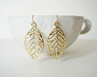 Glossy Gold Leaf Earrings