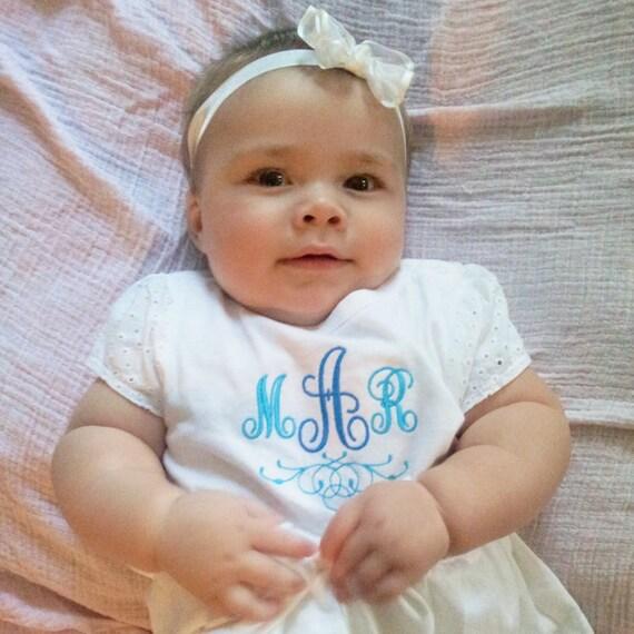 Monogrammed Onesie, Ruffled Onesie, Skirted Onesie, Peplum, Baby Outfit, Custom Baby Bodysuit, Layette, personalized baby, baby shower gift