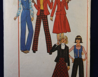 Vintage Sewing Pattern Simplicity 7721 for Young Junior/Teens Jacket, Waistcoat, Skirt and Trousers for Age 13/14 and 15/16