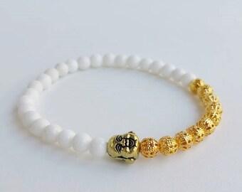 Mens bracelet - buddha bracelet - beaded bracelets - yoga bracelet - white bracelet - stretch bracelet - protection - men's gift - filigree