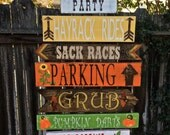 Directional Party Signs, Fall Harvest Party, Farm Signs, Company Picnic Signs, Lawn Games Signs, Thanksgiving Party, Halloween Party