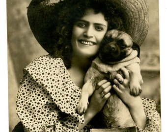 1900s Woman & Pug Postcard Antique Vintage Victorian Edwardian Photo