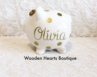 Large Gold NAME Personalized Piggy Bank custom made for a sweet girl, or boy, first birthday, baby girl, baby, Gatsby