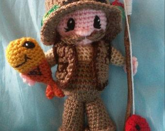 Crochet Fisherman John Amigurumi Doll Pattern Only