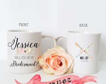 BRIDESMAID MUG Bride Tribe Boho Will You Be My... Wedding Day Bridal Gift/ Front and Back Personalization Proposal Maid of Honor with Name