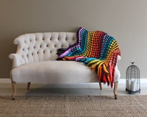 Decor throw blanket, throw afghan, knit throw blanket, colorful