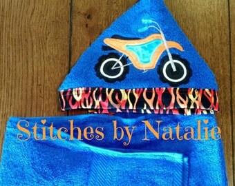 Dirt Bike Hooded Towel/ Kid's Hooded Towel/ Custom and Personalized towel/ Toddler. kids hooded towel
