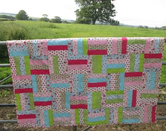 Quilt, handmade patchwork, floral throw blanket