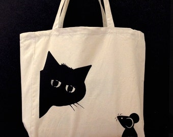 Screen-printed Tote bag - 'Peekaboo' design made in UK, CAT & MOUSE illustration- heavy weight with strong handles, 100% cotton