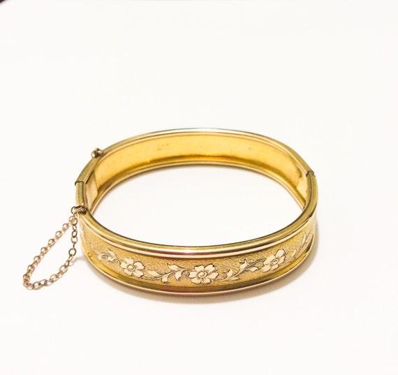 Art Deco Rose Gold Filled Bangle Bracelet Floral Scroll