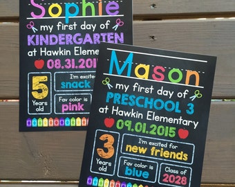 FIRST DAY of School Sign, Back to School Chalkboard Sign, Kindergarten, Preschool, Any Grade, Printable