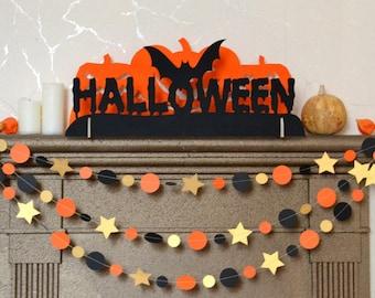 Halloween decorations Fireplace decor Halloween decor Wooden candlestick