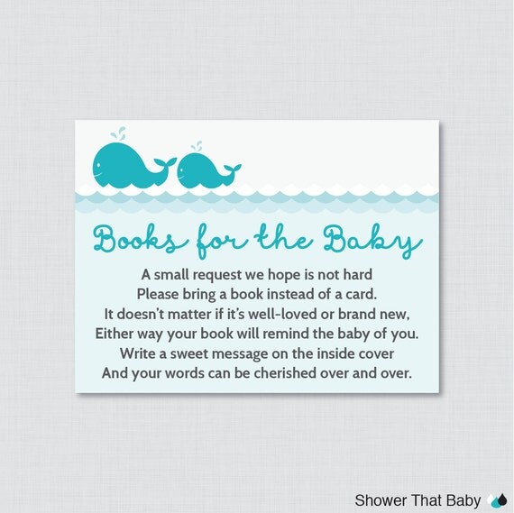Whale Baby Shower Printable Bring A Book Instead Of A Card